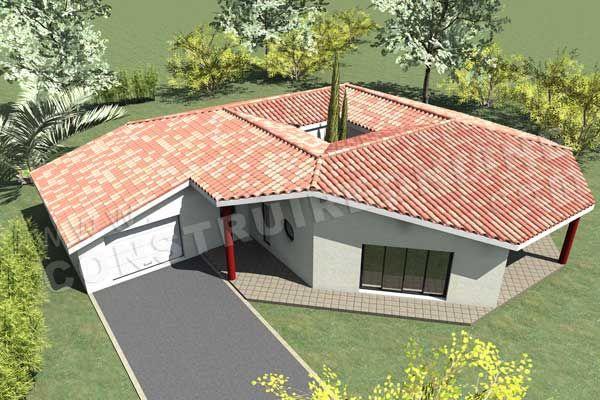 Plan de maison patio moderne spationaute vue dessus