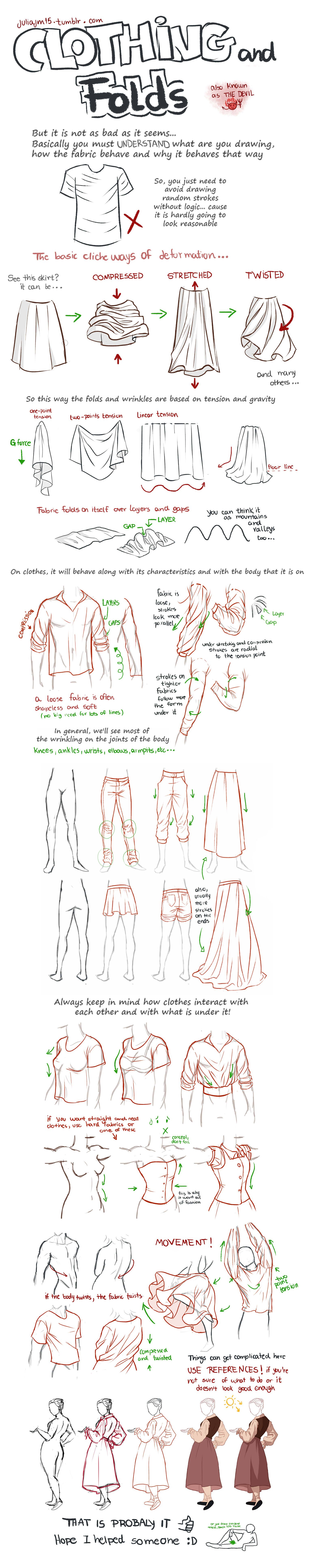 Clothing and folds tutorial by juliajm15 drawing anime clothes manga clothes drawings of clothes