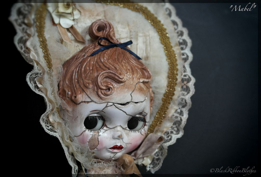 """latest Custom Blythe doll """"Mabel"""" broken, but never forgotten!  She is staying in my collection."""