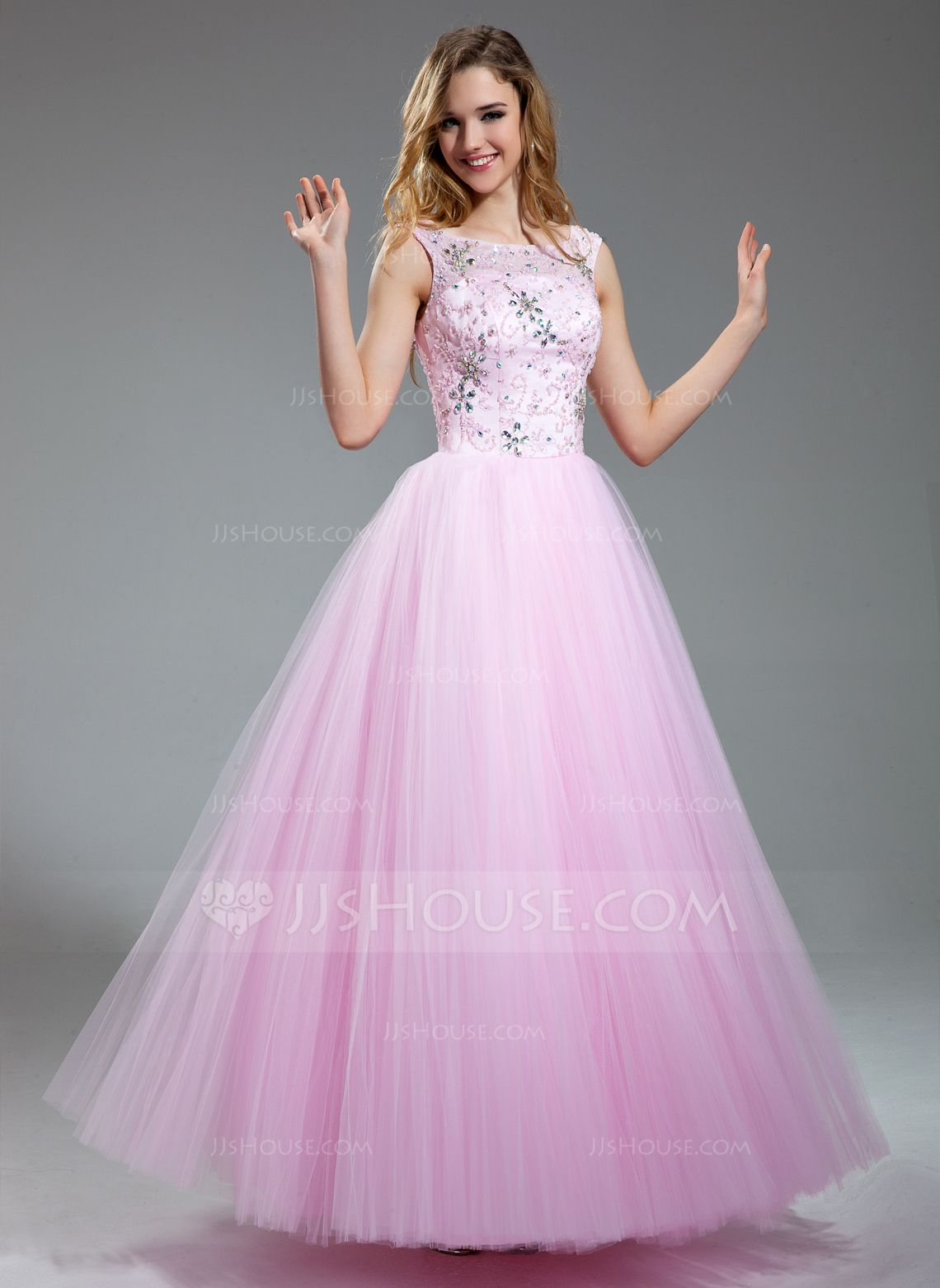 A-Line/Princess Scoop Neck Floor-Length Satin Tulle Prom Dress With ...