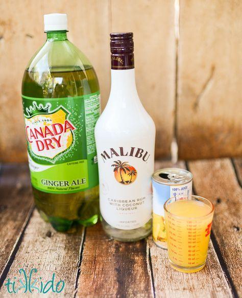 Coconut Malibu Rum, Pineapple Juice, Ginger Ale, And