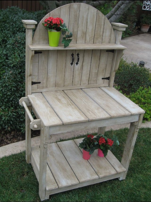 Potting bench made with old fence boards