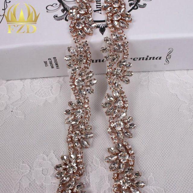 (10yards) Wholesale Sewing Iron On Stones Beaded Rose Gold Hot Fix Bridal  Sash… bd38d7bb65db