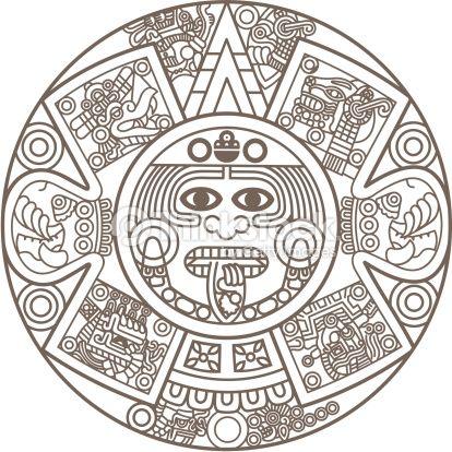 Calendrier Maya Dessin.Stylized Aztec Calendar In Gold Color Vector Illustration