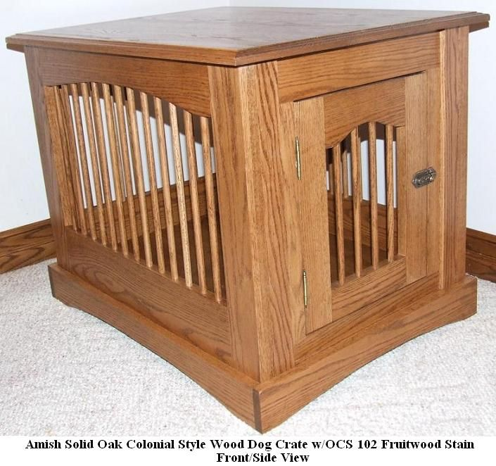 Amish Custom Built Colonial Wooden Dog Crate End Table