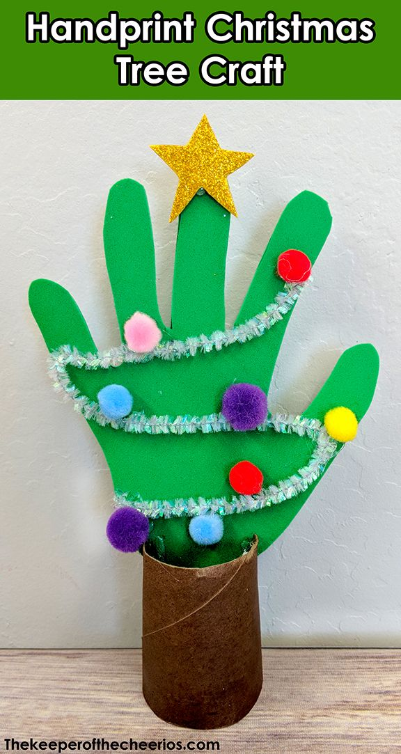 Handprint Christmas Tree craft - The Keeper of the Cheerios
