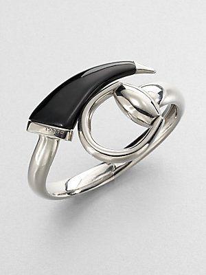 2a91714ea07 Gucci 18ct Rose Gold Black Diamond Horsebit Bangle From Steffans -  Source. Gucci  Horsebit Sterling Silver Bangle Bracelet