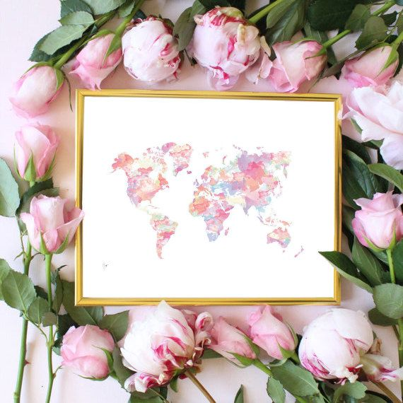 Pink world map painting map art print room decor typographic print pink world map painting map art print room decor typographic print drawing wall decor framed quotes travel poster gumiabroncs Images