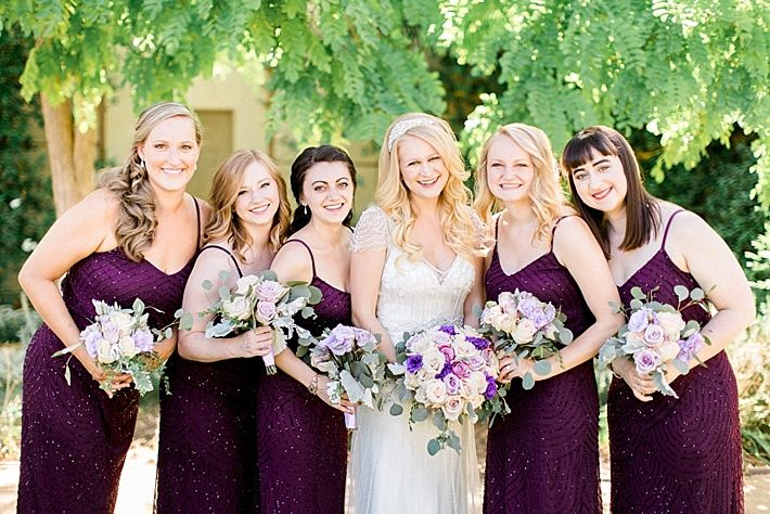 7134f6f8 Bridal party in the Art Deco Beaded Blouson Gown in Cassis by Adrianna  Papell | Plum and Purple Bridesmaids Dress