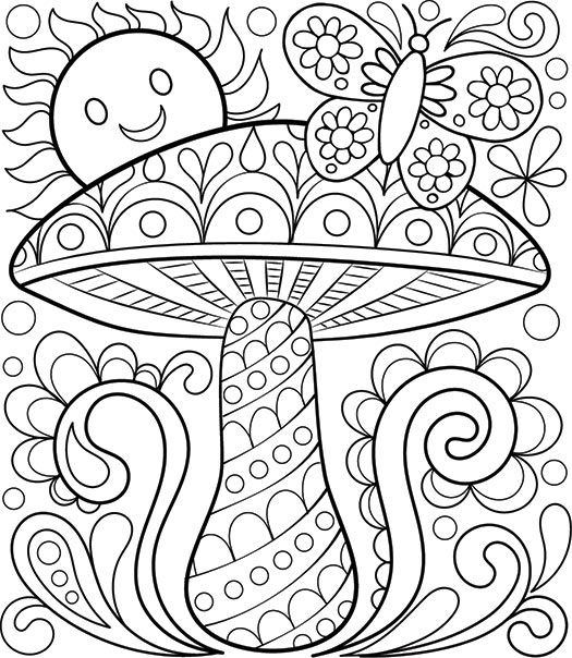 free coloring calendar toadstool page by thaneeya - Therapy Coloring Pages Printable