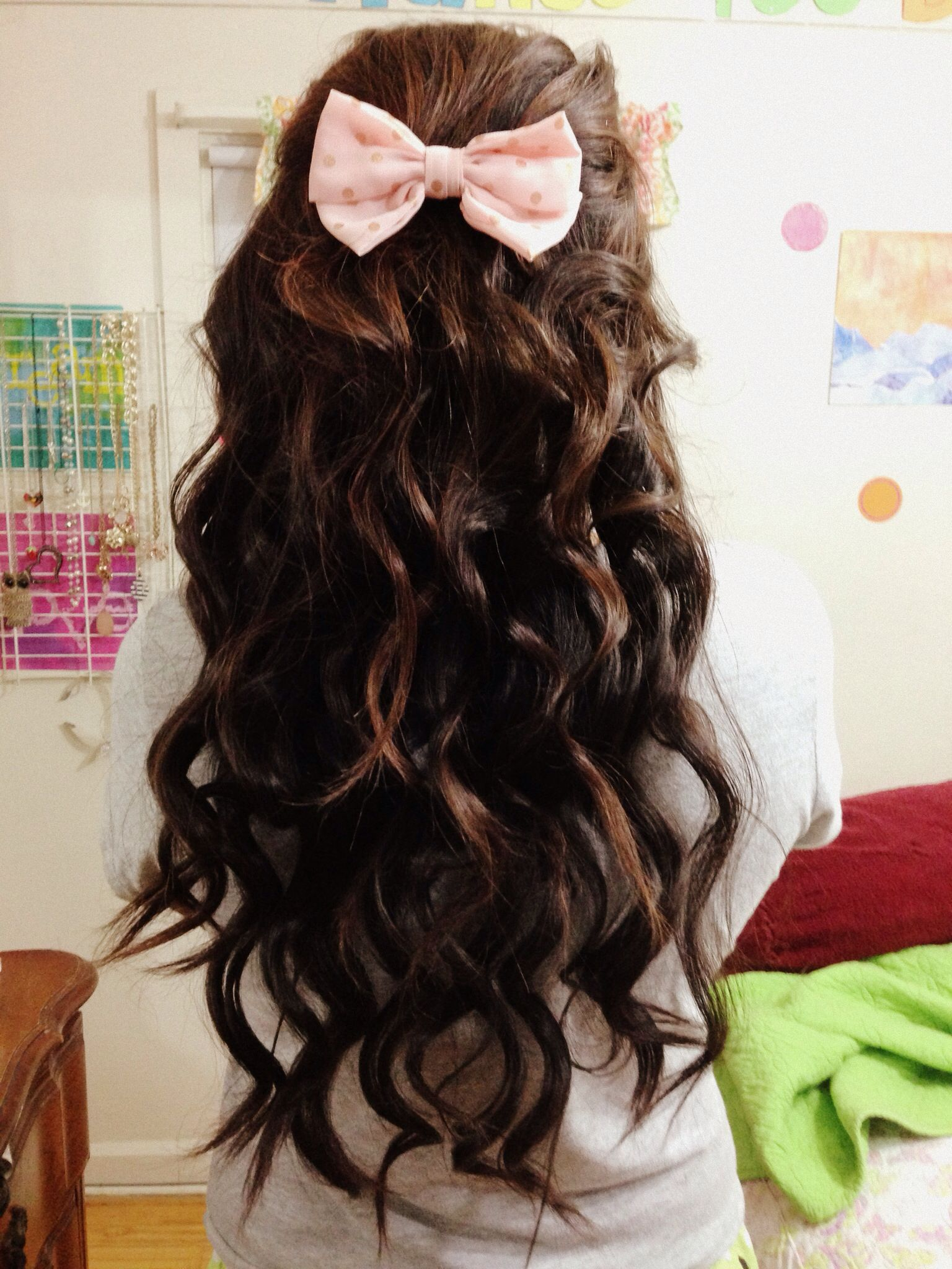 Hairstyles Curly Hair Bow Bows Long Darkbrown Brown