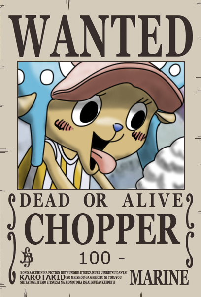 Chopper Dressrosa Wanted Poster 100 Berry By Karotakid D9bjact Png 408 600 Hinh ảnh One Piece Anime
