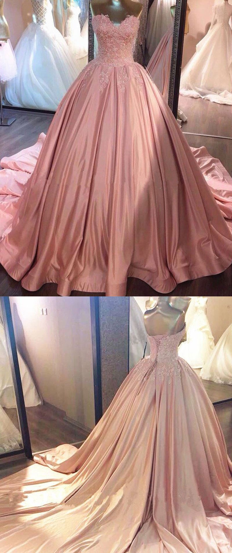 Discount sweep train evening prom dress long pink dresses with lace