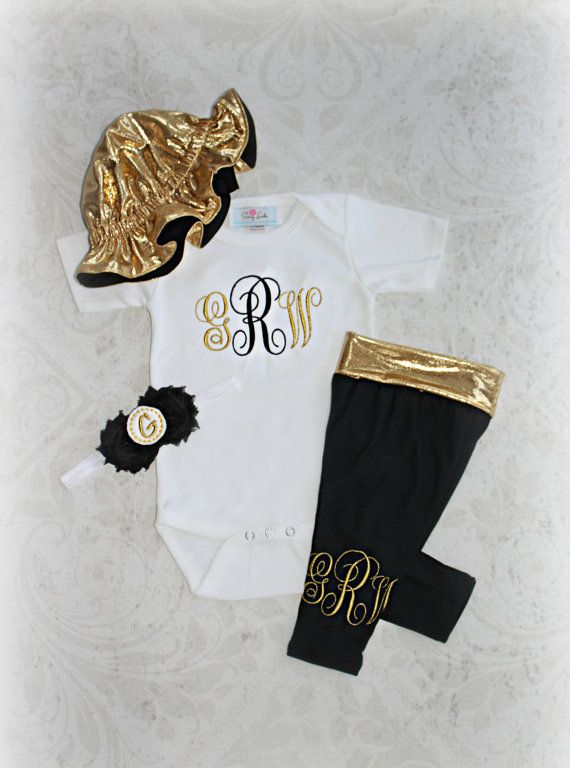 988ff93c28a Gold Black Baby Girl Outfit Monogram Baby Girl by sassylocks