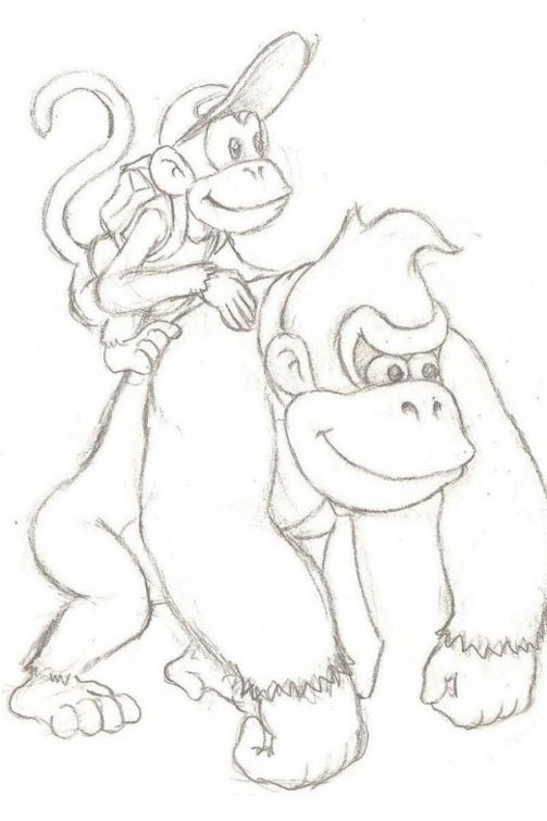 Donkey Kong with his monkey friend coloring page free for