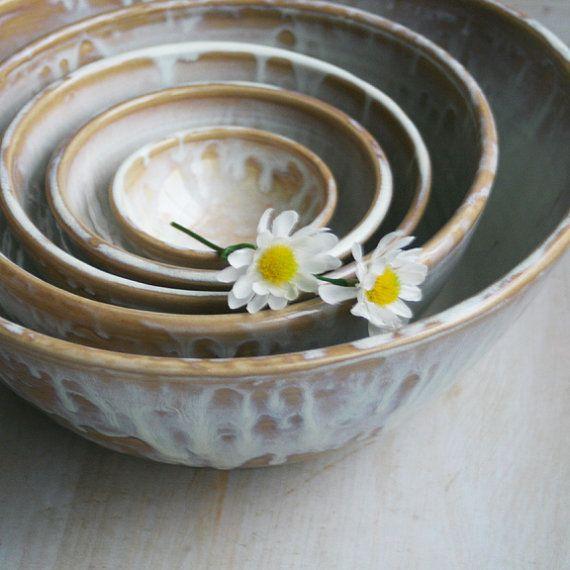 Rustic Nesting Bowls, Extra Large Ceramic Set of Five White and ...