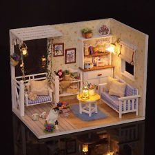 Cuteroom Dollhouse Miniature DIY Kit With LED Light Cover Wood Toy Doll House Ro