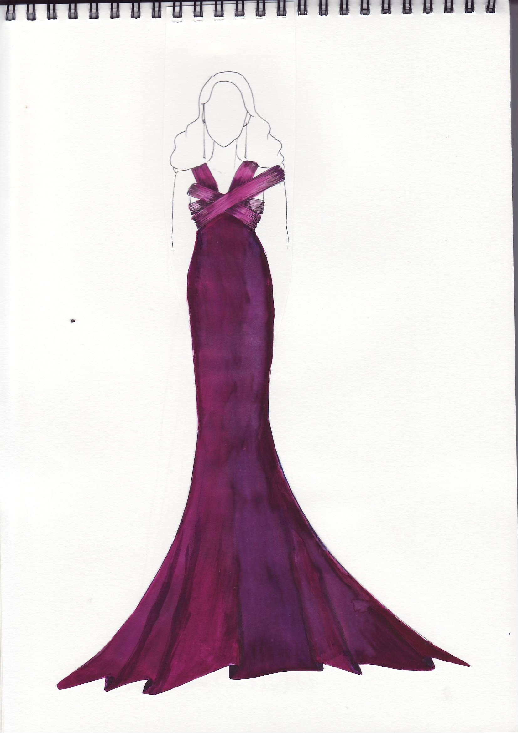 fashion sketch of evening gown | Sketches | Pinterest | Fashion ...
