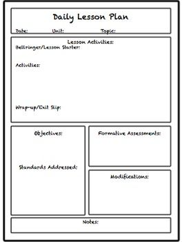 Lesson Unit Plan Templates For Middle Or High School
