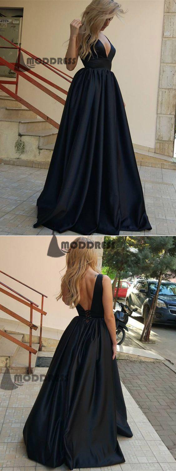 Deep vneck long prom dresses black backless evening dresses satin