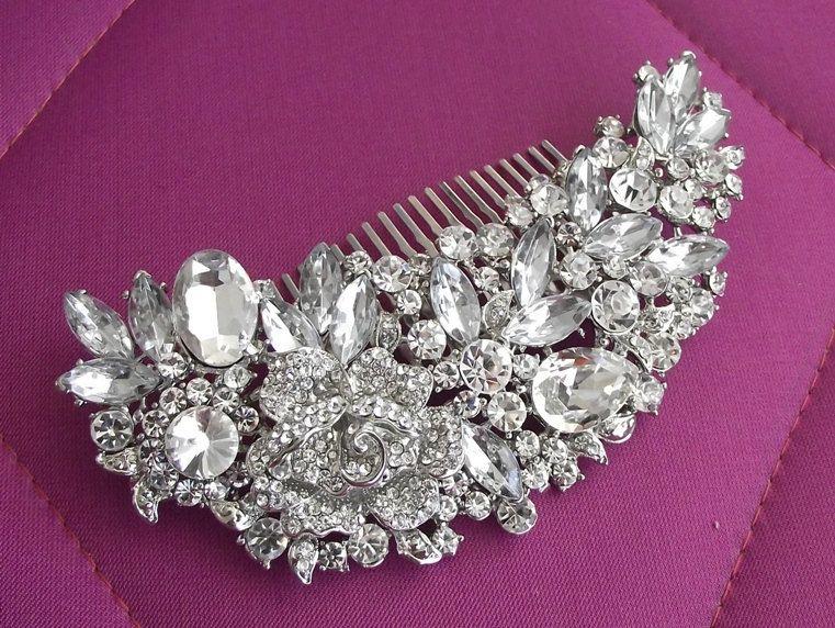 Swarovski hair comb, crystal wedding comb, bridal hair accessories, bridal hair comb, wedding head piece, vintage wedding hair comb. $58.00, via Etsy.