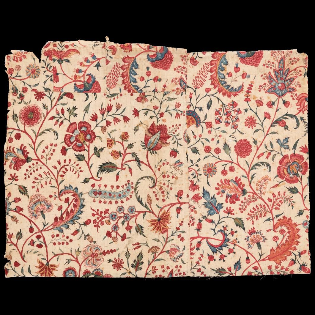 Colonial Williamsburg. Chintz Textile Fragment 1710-1730
