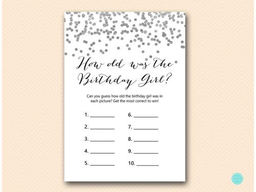 Silver Confetti Girl Birthday Party Games, Who knows the Birthday - birthday party invitation informal letter