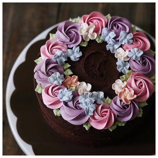 Kuchen mit wunderschonen Buttercreme Blumen Backen ...