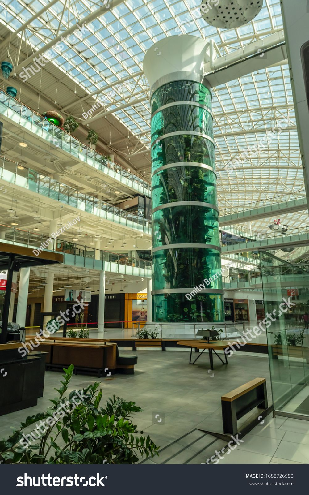 Russia, Moscow - March 28, 2020: Empty, due to the coronovirus, Aviapark shopping center on a day off. #Ad , #Sponsored, #Empty#Russia#Moscow#March