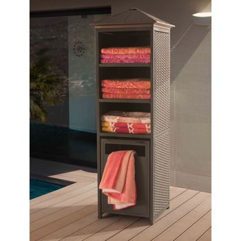 The Donnelly Towel Valet And Storage Cabinet Provides Ample E For Pool Accessories Towels Or Toys This Also Features A Hinged Pull