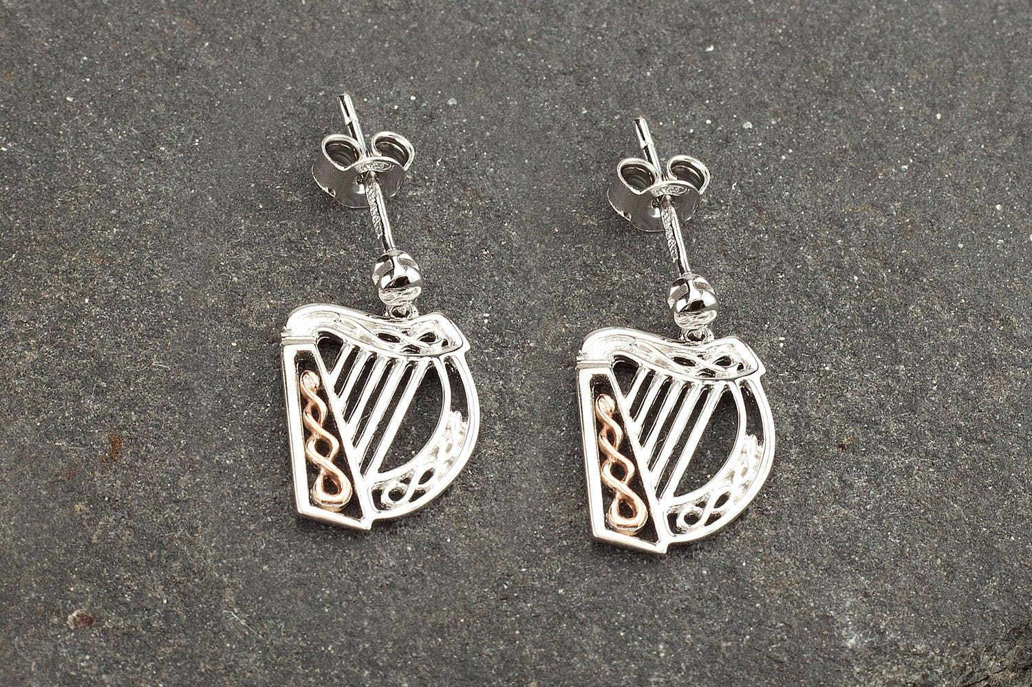Sterling Silver And Irish Rose Gold Harp Drop Earrings