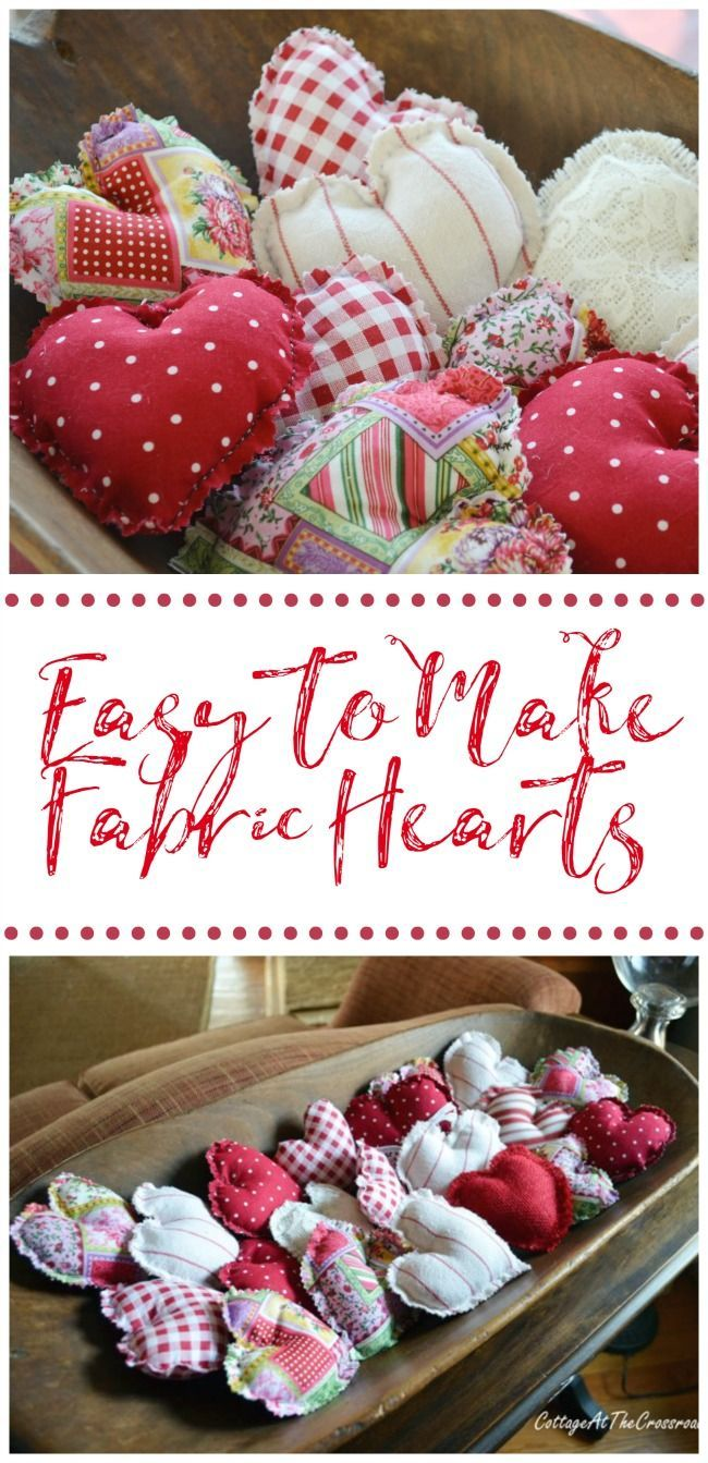 These fabric hearts are so easy to make and you don't even need a machine!  #fabrichearts  #valentines  #crafts  #diy