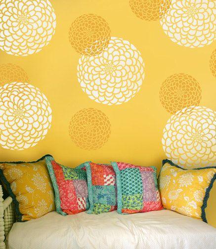 Flower Stencil Zinnia Grande size Med - Reusable wall stencils ...