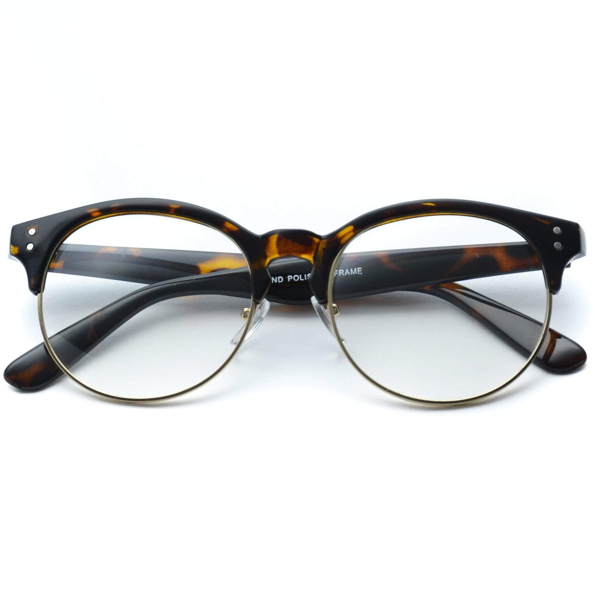 Winter Clear Half Frame Round Retro Non Prescription Glasses | Products