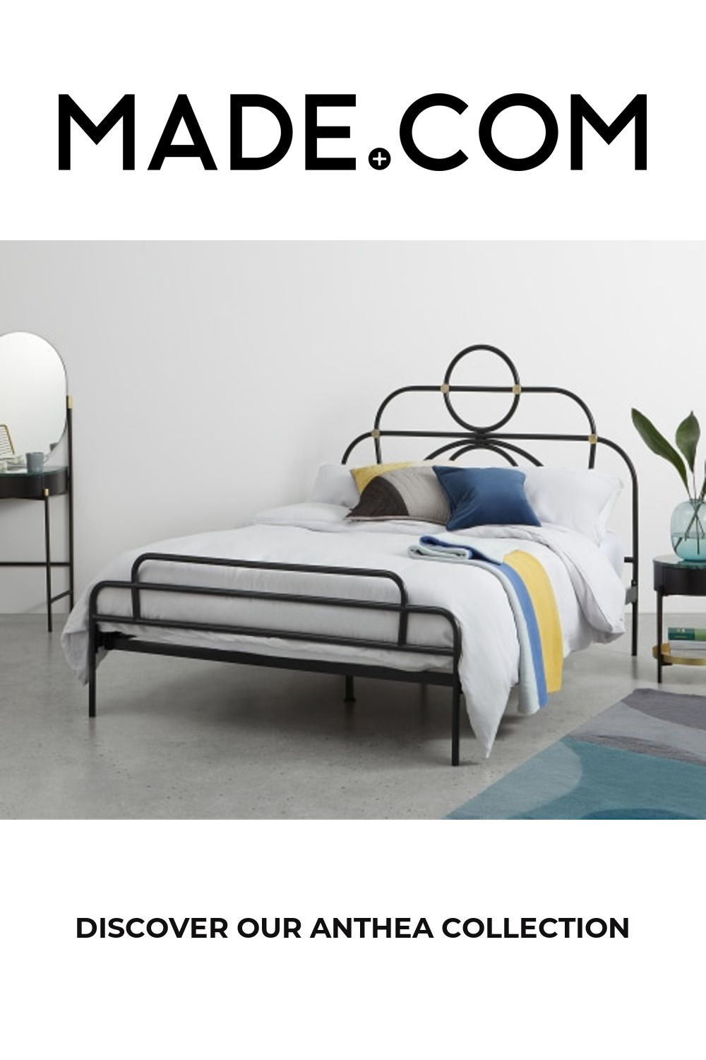 Anthea Metal Double Bed, Black