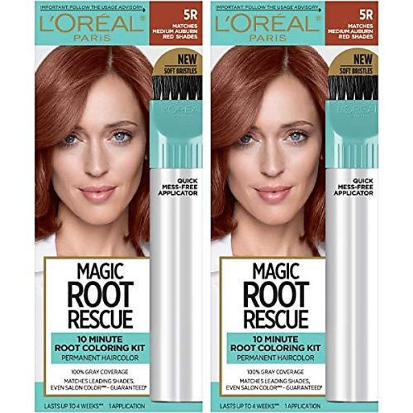 Magic Root Rescue 10 Minute Root Hair Coloring Kit, Permanent Hair Color with Quick Precision Applicator, 100 Gray Coverage, 5R Medium Auburn Red, 2 Gallery