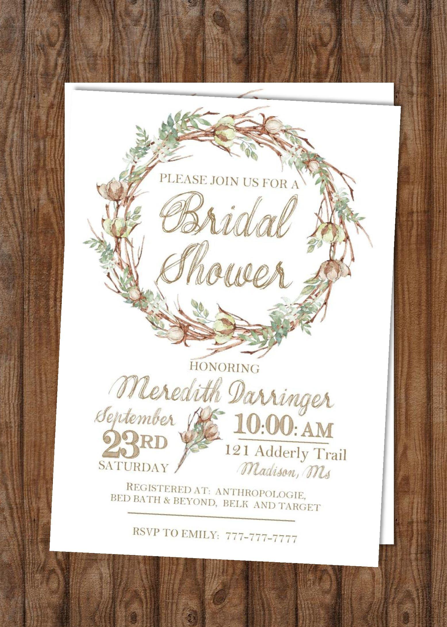 Diy Printable Bridal Shower Wedding Shower Watercolor Flowers