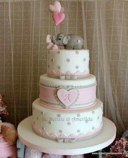 Charmant Elefant Rosa Grau Mädchen Torte Rosa, Taufe Kuchen Mädchen, Torte Taufe,  Fondant Torten