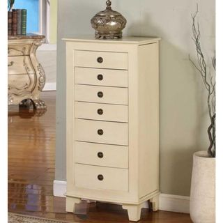 Nathan Ceyan Lock Jewelry Armoire Beige OffWhite Armoires