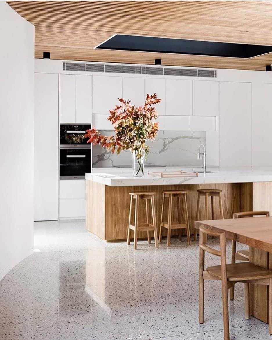 Best Oak White Polished Concrete Scandinavian Kitchen 400 x 300