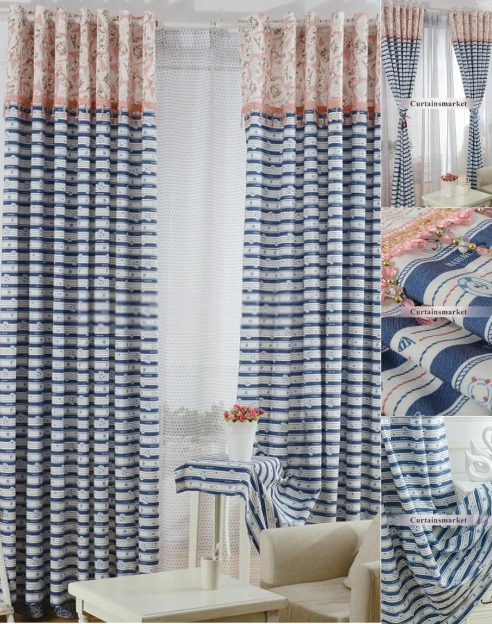 Navy Blue Striped Curtains In Nautical Style With Stars With