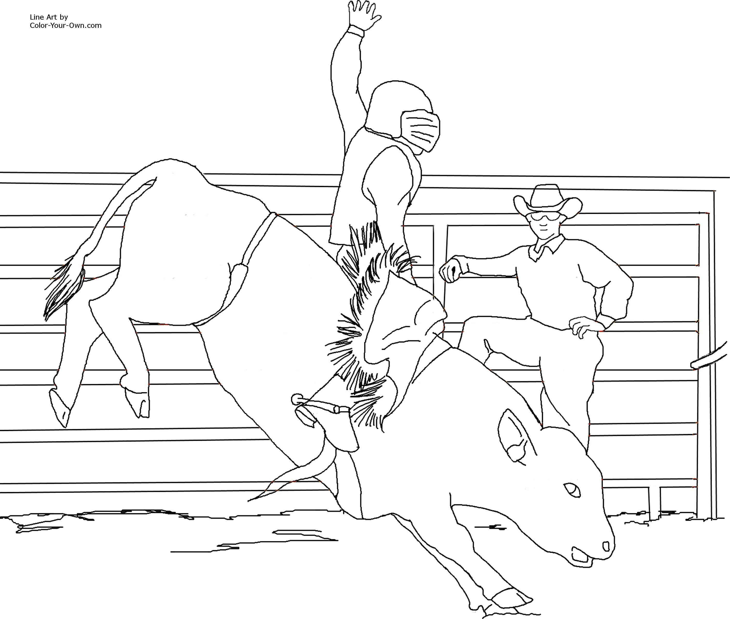 Bull Riding Coloring Pages Only Coloring Pages Horse Coloring Pages Coloring Pages Bucking Bulls [ 2400 x 2826 Pixel ]