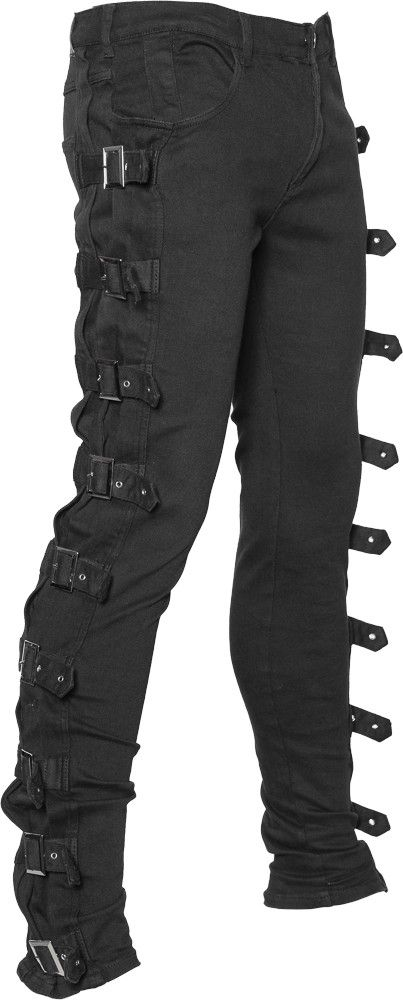 Goth Bondage Cyber Trousers Black Mens Gothic Puck Techno Rave Rock Pant