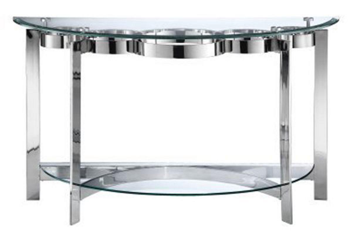 Curvy Chrome Glass Sofa Table Contemporary Console Table