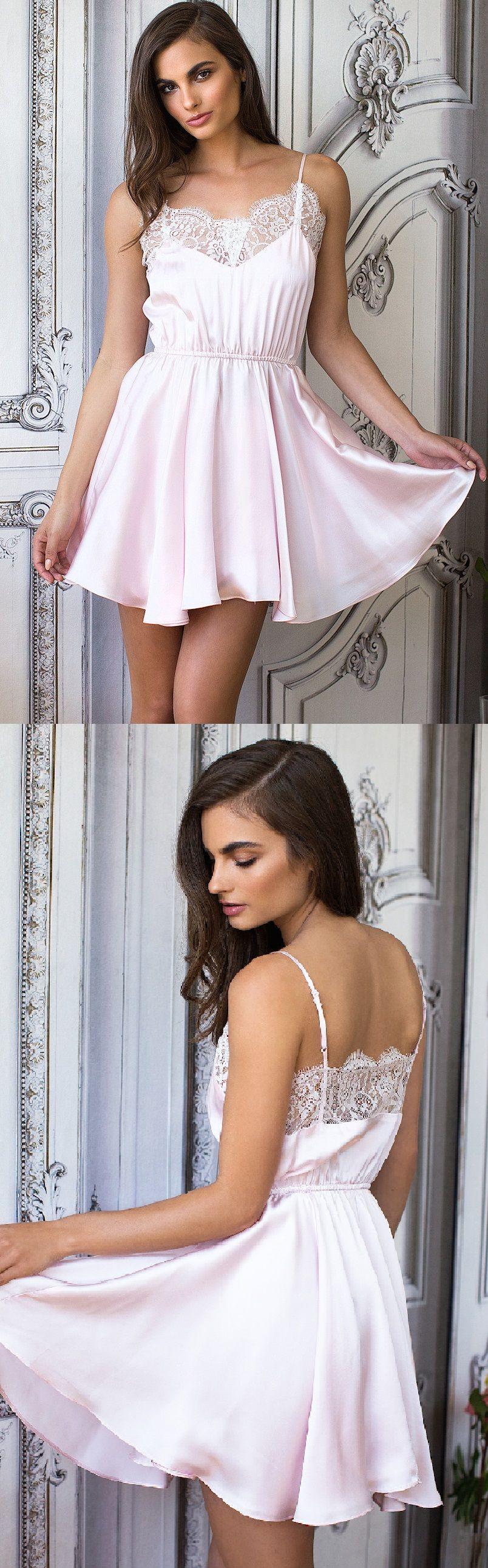 Spaghetti straps lace short light pink chiffon homecoming dress