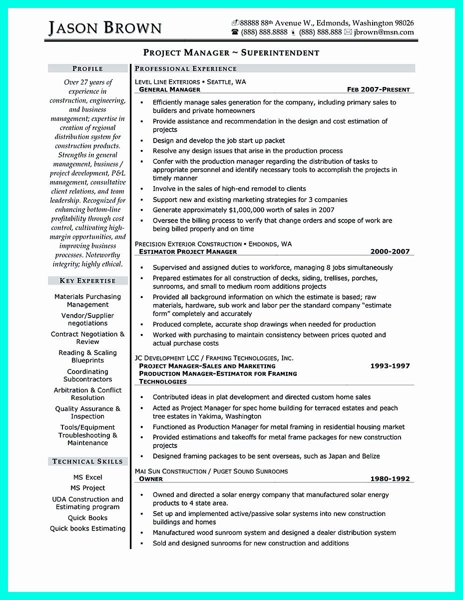 Entry Level Project Management Resume Luxury Cool Construction Project Manager Resume To Get Applied Project Manager Resume Manager Resume Resume Examples