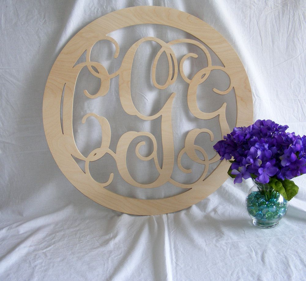 inch vine connected monogram letter round with border wedding