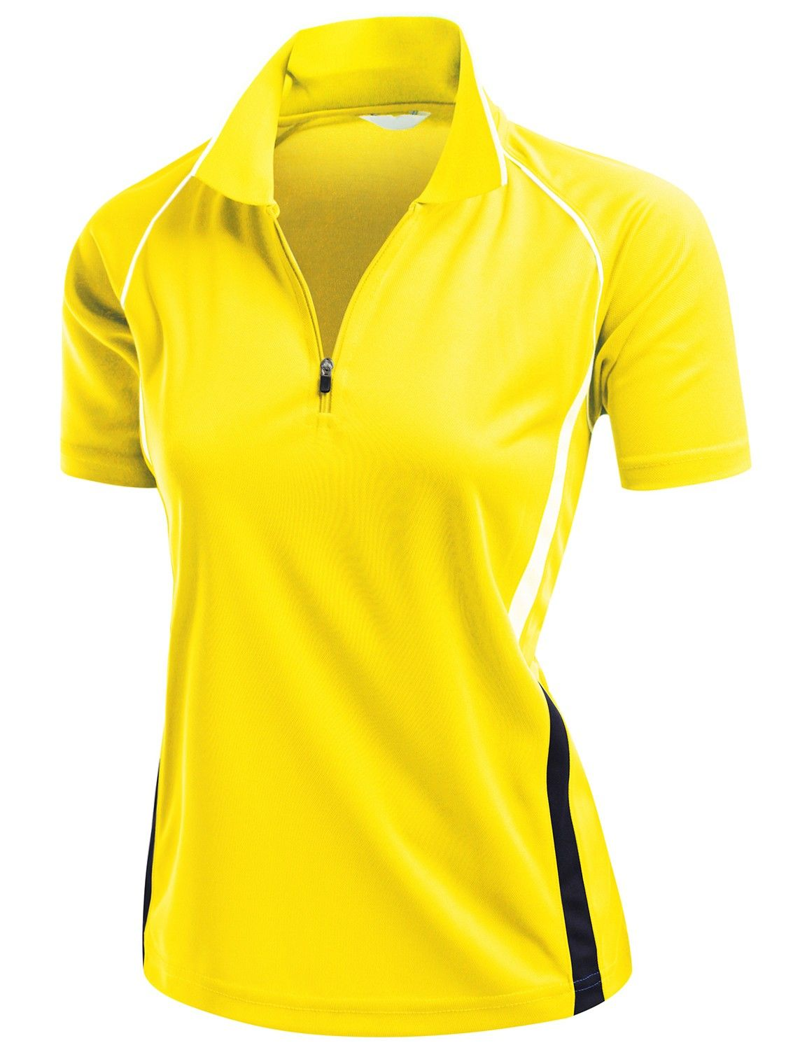 5bd329b4 Offering a unique 2 tone linear shoulder design this womens Coolmax golf polo  shirt by Xpril