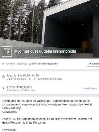 Krematorion avoimien ovien tapahtumailmoitus Facebookissa.