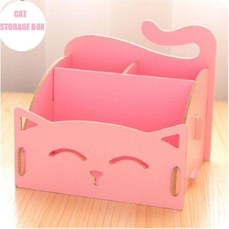 DIY Cat Shaped Cosmetic Storage Box Office Organizer Multifunction Makeup Container Desktop Storage Basket